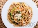Рецепта Пълнозърнести спагети със скариди, моцарела и босилек